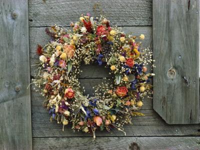 A Delicate Dried Flower Wreath Adorns a Wooden Wall Near a Window by Bill Curtsinger