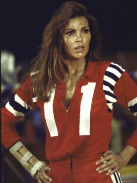 "Actress Raquel Welch in Uniform During Filming of Motion Picture ""The Kansas City Bomber"" by Bill Eppridge"