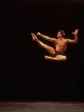 """Dancer Edward Villella Leaping Through Air in Performance of George Balanchine's """"The Prodigal Son"""" by Bill Eppridge"""