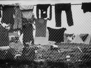 Laundry Hanging on Fence at Woodstock Music Festival by Bill Eppridge