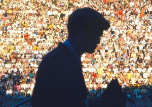 Robert F. Kennedy Speaking in Front of Crowd in Amphitheater on Behalf of Democratic Candidates by Bill Eppridge