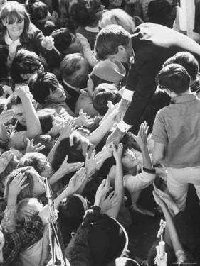 Senator Robert F. Kennedy Mobbed by Youthful Admirers During Campaign by Bill Eppridge