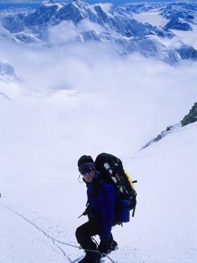 Climber on the Descent of the Headwall on Denali's West Butrress, Alaska by Bill Hatcher