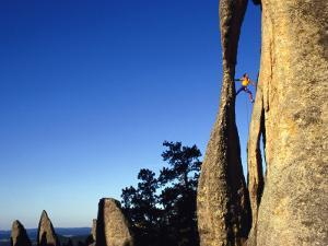 Climber Paul Piana Leads a Route at the Needles in South Dakota by Bill Hatcher