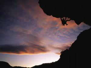 Rock Climbing out a Steep Roof in Sinks Canyon by Bill Hatcher
