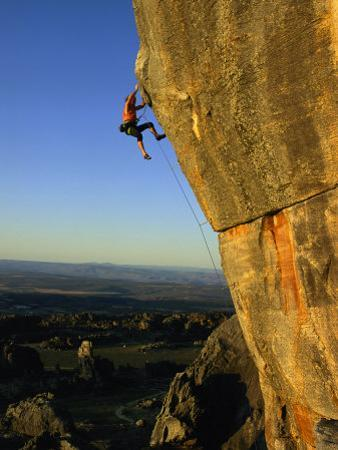 Todd Skinner Climbs a Large Rock Face at the Rocklands by Bill Hatcher