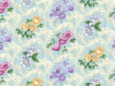 Twiggy Scroll Floral Aqua by Bill Jackson