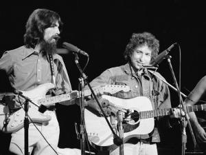 George Harrison and Bob Dylan during the Concert for Bangladesh at Madison Square Garden by Bill Ray