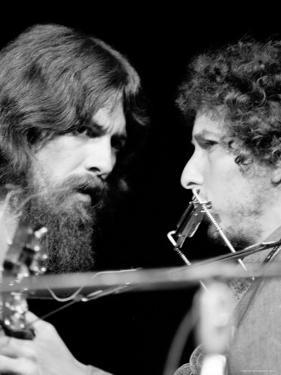 George Harrison and Bob Dylan Performing Together at Rock Concert Benefiting Bangladesh by Bill Ray