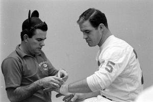 Kansas City Chiefs Jerry Mays before Super Bowl I, Los Angeles, California, January, 15 1967 by Bill Ray