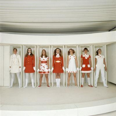 Models Wearing Red and White Ready-To-Wear Fashions Designed by Andre Courreges, 1968 by Bill Ray