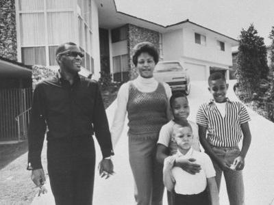 Singer Ray Charles Posing with Wife and their Three Young Sons by Bill Ray