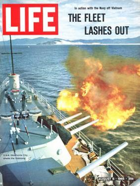 The Fleet Lashes Out, Bill Ray of USS Oklahoma Shelling the Viet Cong Off Vietnam, August 6, 1965 by Bill Ray