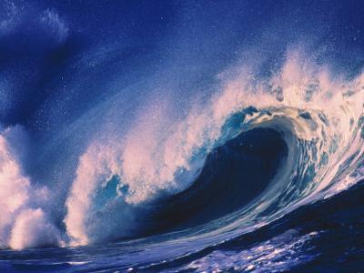 North Oahu, HI, Ocean Wave at High Contrast by Bill Romerhaus