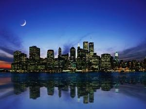 Manhattan Skyline and Reflection by Bill Ross