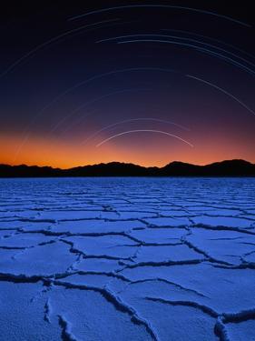 Star Trails Over Salt Pan by Bill Ross