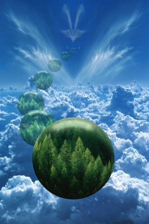 Tree Globes Floating over Clouds