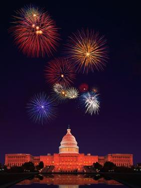 United States Capitol Building and Fireworks by Bill Ross