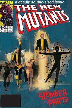 The New Mutants No.4 Cover: Sunspot, Cannonball, Magik, Magma, Wolfsbane and New Mutants by Bill Sienkiewicz