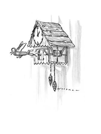 Cuckoo clock strikes the hour: Swiss army knife springs out  instead of a … - New Yorker Cartoon