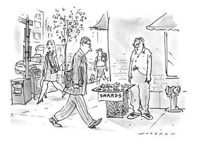Disheveled man stands on street corner selling fragments of some sort labe… - New Yorker Cartoon