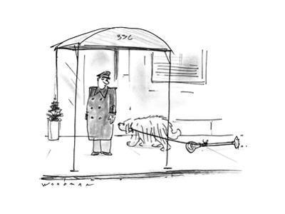 Dog dragging parking meter. - New Yorker Cartoon
