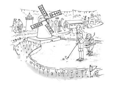Don Quixote, with Sancho Panza in attendance, prepares to putt through a w… - New Yorker Cartoon
