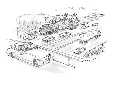 Driver on overpass looking at tractor trailer filled with giant turkeys re? - New Yorker Cartoon