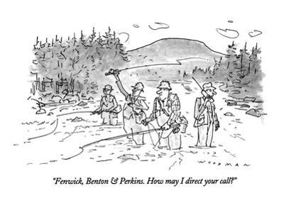 """Fenwick, Benton & Perkins. How may I direct your call?"" - New Yorker Cartoon"