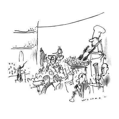 In the middle of an orchestra stands a chef tossing salad in a bowl. - New Yorker Cartoon