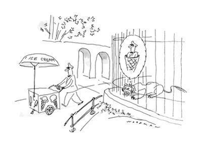 Lion thinking of Ice Cream Man in ice cream cone. - New Yorker Cartoon