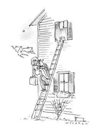 Man carrying woman down ladder to elope, sees teddy bear waving goodbye. - New Yorker Cartoon
