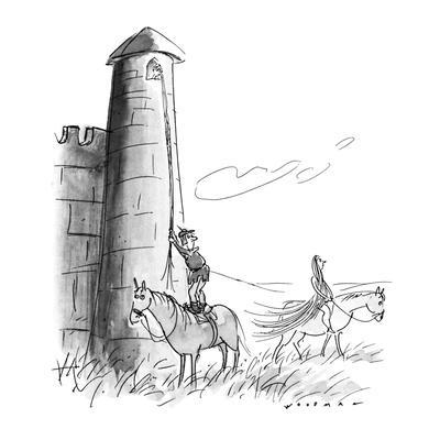 Man from Middle Ages pauses to watch Lady Godiva ride by as he is about to? - New Yorker Cartoon