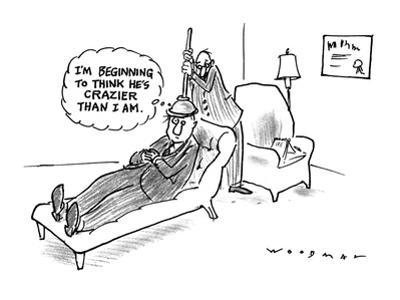 """Man on a psychiatrists couch with psychiatrist holding a plunger on the pa…"""" - New Yorker Cartoon"""