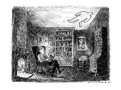 Man reading a book with a man-shaped hole being sawed in his ceiling. - New Yorker Cartoon