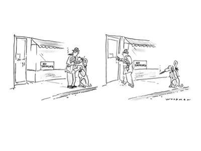 """Man sees """"No Smoking"""" sign in window of store in panel one, as he ties up … - New Yorker Cartoon"""