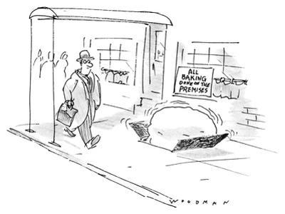 Man walks by establishment with sign in window that reads: 'All Baking Don… - New Yorker Cartoon