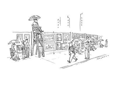 Sidewalk artists sit in chairs next to their works.  One sits in a lifegua… - New Yorker Cartoon