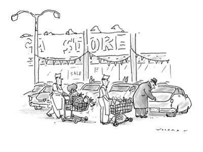 Store clerks wheeling out shopping carts to man opening his car trunk.  On… - New Yorker Cartoon