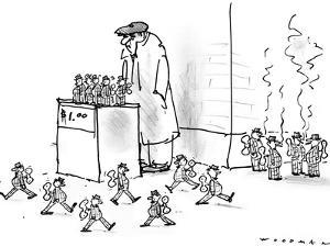Street vendor is selling little windup men who march back and forth in fro… - New Yorker Cartoon by Bill Woodman