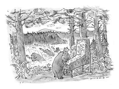 Two bears play a salmon-run-themed pinball machine outdoors in the woods, ? - New Yorker Cartoon