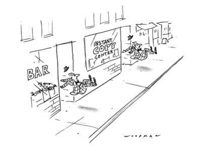 Two men being kicked out of stores, one is a bar, the other an 'Instant Co… - New Yorker Cartoon