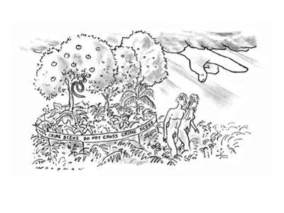 Under the angry finger of God, Adam and Eve leave the Garden of Eden, whic… - New Yorker Cartoon