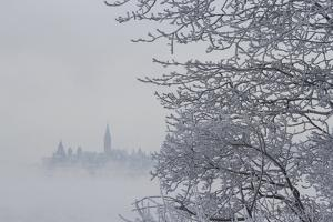 Canada, Ottawa, Ottawa River. Parliament Buildings Seen Through Fog by Bill Young
