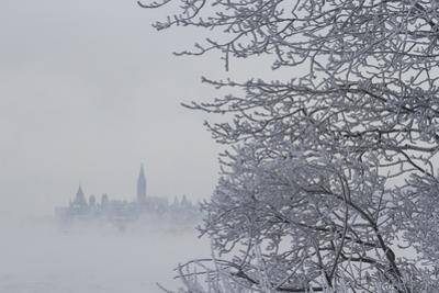 Canada, Ottawa, Ottawa River. Parliament Buildings Seen Through Fog by Bill Young