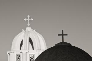 Greece, Santorini. Church Steeples and Crosses by Bill Young