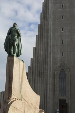Iceland, Reykjavik, Hallgrimskirkja Church, Statue of Leif Eriksson. by Bill Young