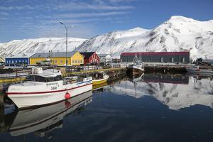 Iceland, Siglufjordur. Boats moored at pier. by Bill Young