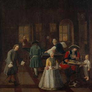 Billiards - from a Series of Four Paintings Showing People at Leisure, 18th Century