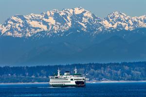 Seattle Bainbridge Island Ferry Puget Sound Olympic Snow Mountains Washington State by BILLPERRY